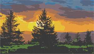 Sunset with evergreen trees in silhouette