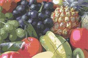 A fruit collage in needlepoint with a fresh array of nature's best.