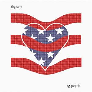 "The American flag in needlepoint. ""We love the USA,"" is depicted in the heart shaped star center"