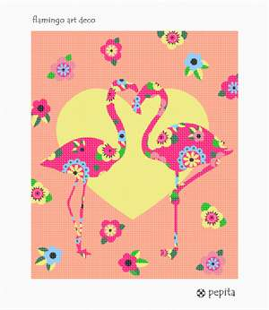 Two flamingos in an almost embrace behind a heart backdrop.  Art deco flowers scatter the backgroungd. A wonderful needlepoint to stitch.
