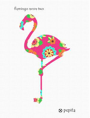 A flamingo with neon art deco flowers, perched on one leg facing left.