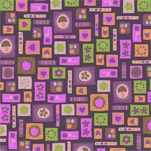 A floral art deco needlepoint in shades of purple perfect for stitching a pillow.