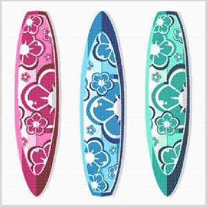 A trio of trendy surfboards