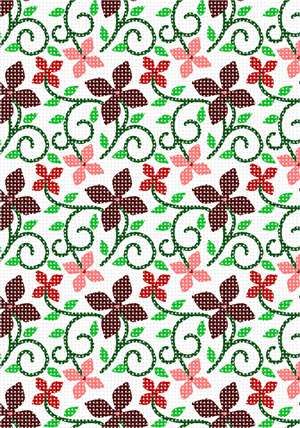 A tessellation of flowers and vines.