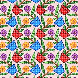 A tessellation of flower pots.