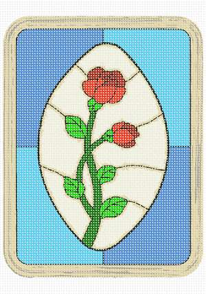 Stained glass panel with roses
