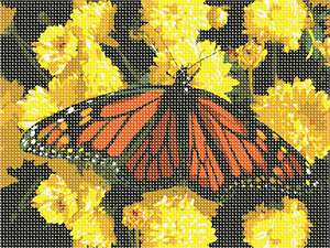 Magnificent butterfly attracted to the nectar of some beautiful yellow flowers.  Butterflies are deep and powerful representations of life. Around the world, people view the butterfly as representing endurance, change, hope, and life. Flowers and floral design are among the most popular needlepoint designs. People have been stitching flowers and floral motifs for hundreds of years.  Flowers are bright and pleasant, and most have underlying meanings to them.