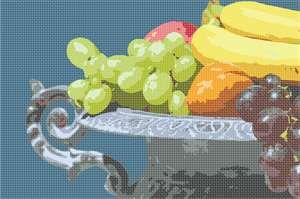 A fruit platter of grapes, bananas, a peach, and apple