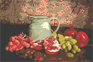 Still life with a pitcher, pomegranate, and grapes.  Warm and vintage look.