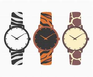 "Here are three fabulously funky watches in animal print theme. There's zebra, leopard, and giraffe. Watches are still in even with all the technology out there, and they make great gifts for people of all ages and nationalities. Did you ever notice, timers displayed in commercial stores and retail centers show the time 10:10. Reason behind setting hands in the specific position is to create an impression of a smiley face. This might make customers feel happy and happy customer means more sales. This is called ""Happy Time."" Watches come in many colors, but the most commonly used and gifted watch color is black."