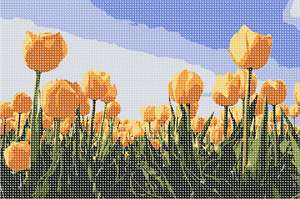 Yellow tulips gazing at the blue sky. Real live tulips bloom once a year. Tulip needlepoints can be enjoyed throughout the year. Red tulips are most strongly associated with true love, while purple symbolizes royalty. The meaning of yellow tulips has evolved somewhat, from once representing hopeless love to now being a common expression for cheerful thoughts and sunshine.