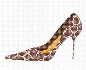 A needlepoint giraffe pattern high heel shoe with an orange insert.  See matching purse needlepoint. Do you prefer heels or comfort shoes? Perhaps you like sneakers or slingbacks.