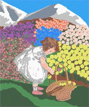A girl gathers up a bouquet of bright flowers from the vividly colorful mountainside.