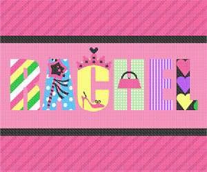 A personalized girl's name in needlepoint. Stitch the magic wand, pocketbook, high heel shoe, and of course, a crown, for your princess.