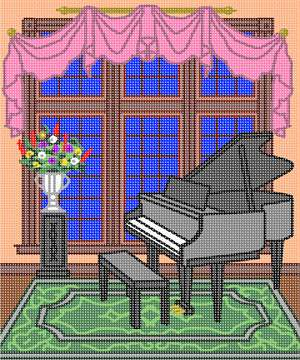 The grandest of pianos, in a regal setting. This design coordinates with others in our Home Sweet Home series. A house is made of walls and beams, a home is built with love and dreams. ...