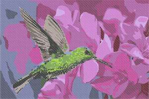 A bright green hummingbird hovering near fuchsia and lilac flowers, sipping delicious nectar.