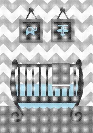 An updated baby boys room in grey and white chevron.  Look at baby layette items on sale today. All have chevron pattern.  Grey is the new baby blue.  The artist designed this when she became a grandmother for the first time. She realized that the updated look in baby nurseries is chevron. She designed unisex and baby girl designs as well.  Becoming a grandmother is worth more than any money in the world.