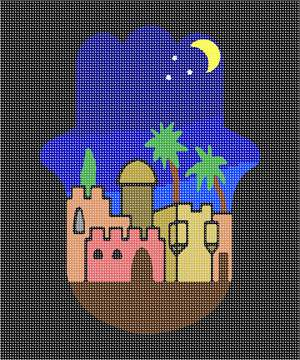 A hamsa shaped Jerusalem in nighttime.  A hamsa is a palm-shaped amulet popular throughout the Middle East and North Africa and commonly used in jewelry and wall hangings.