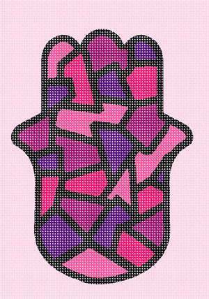 Stained glass in pink.  A hamsa is a palm-shaped amulet popular throughout the Middle East and North Africa and commonly used in jewelry and wall hangings.