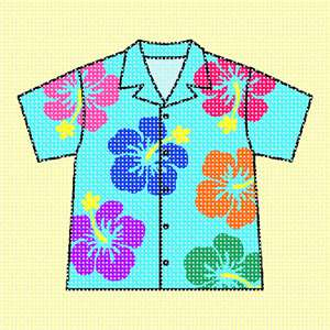A colorful Hawaiian shirt against a pale yellow background.