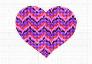 "A heart for all bargello fans. No one knows why the heart is associated with love.  A human heart weighs between 7 and 15 ounces. Our heart beats around 100,000 times a day.  Laughing is good for your heart. A ""broken heart"" can feel like a heart attack. Bargello is a type of needlepoint embroidery consisting of upright flat stitches laid in a mathematical pattern to create motifs. The name originates from a series of chairs found in the Bargello palace in Florence, which have a ""flame stitch"" pattern.