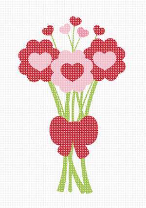 A bouquet of flowers in a heart theme. Ideal for someone you love.