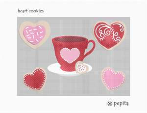 Stitch cookies that are heart shaped with a matching heart teacup.  Needlepoint the frosting too.