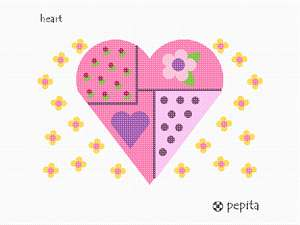 A design with hearts and mini flowers. The perfect project for a beginner.