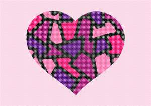 "A stained glass heart in feminine colors. No one knows why the heart is associated with love.  A human heart weighs between 7 and 15 ounces. Our heart beats around 100,000 times a day.  Laughing is good for your heart. A ""broken heart"" can feel like a heart attack."