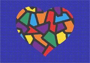 "A stained glass heart in primary colors. No one knows why the heart is associated with love.  A human heart weighs between 7 and 15 ounces. Our heart beats around 100,000 times a day.  Laughing is good for your heart. A ""broken heart"" can feel like a heart attack."