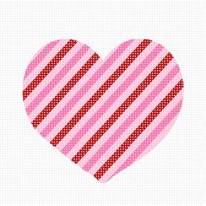 "Perfect for any level stitcher.  This striped heart in shades of pink is ""lovely"""