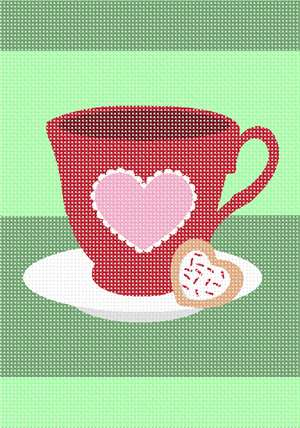 IT's time for tea with a heart shaped cookie.  A great project for beginners and first time needlepointers.