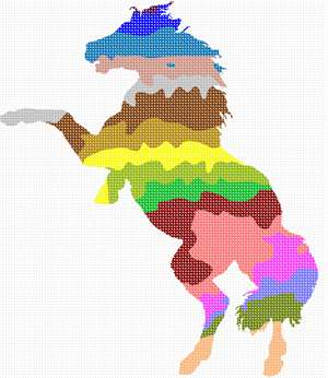 The shape of a horse filled with colorful stripes. There are many animals in our palette silhouette series. This horse is adorable and perfect for a beginner. Purchase as a kit, or buy just the plain canvas if you have many color threads in your stash.
