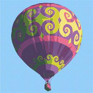 Fancy hot air balloon with a flourish design in gold, magenta and purple colors.