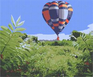 A hot air balloon with vivid coloring hovers in the late afternoon sky over the lush meadow.