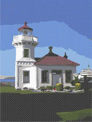 A house by the sea. This is the Mukilteo Lighthouse in Washington.  Enjoy stitching the serenity in this scene.