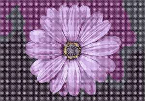 Stitch this flower is shades of lilac, lavender, violet and magenta