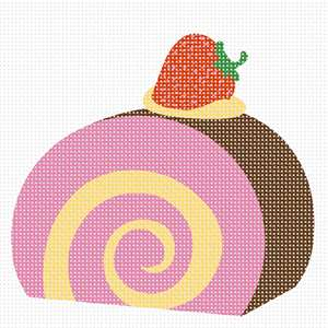 A perfect beginner needlepoint.  Stitch a ice cream or jelly custard roll cake dessert with a strawberry on the top.  Sure to be a winner!