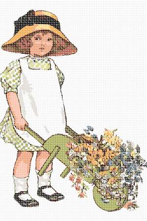 A girl dressed in green gingham trundles a wheelbarrow of flowers to market.