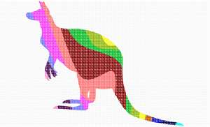 A kangaroo in all colors of the rainbow.