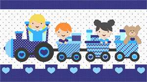 Here comes the train!  Ideal to stitch for a playroom, nursery or boys' room.  Even Teddy gets a ride.