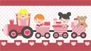 Here comes the train!  Ideal to stitch for a playroom, nursery or girls' room.  Even Teddy gets a ride.