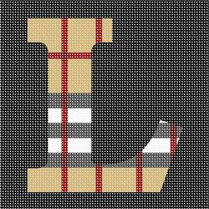 Alphabet in trendy camel tartan pattern