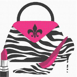It's a purse, high heel shoe, and lipstick zebra ensemble. Animal print accentuates the fuchsia. Fleur de lis too.