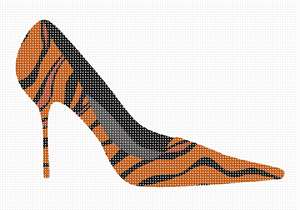 A leopard needlepoint high heel shoe.  Stitch a coordinating pocketbook purse in leopard too.