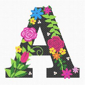 The letter A in black, filled with colorful floral elements.