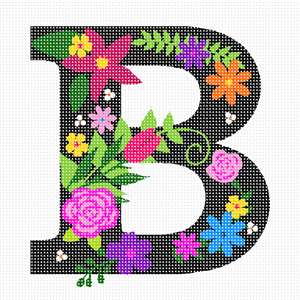 The capital letter B sprouting bold and bright colorful flowers.