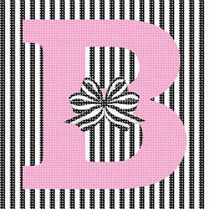 The letter B with a striped bow, against a striped background.