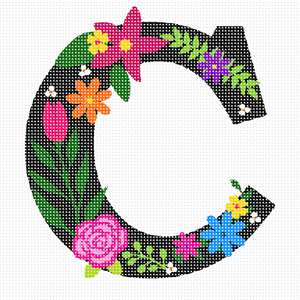 The capital letter C sprouting bold and bright colorful flowers.
