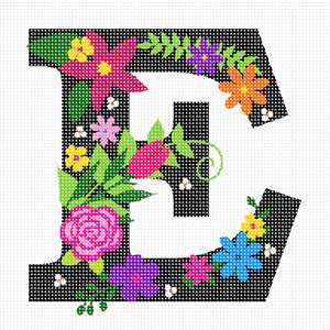 The capital letter E sprouting bold and bright colorful flowers.
